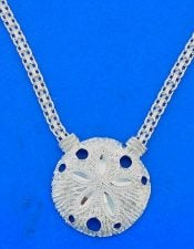 Sand Dollar Necklace, Sterling Silver