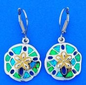 Sand Dollar Opal Earrings, Sterling Silver
