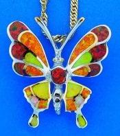 Honey Butterfly Opal Pendant, Sterling Silver