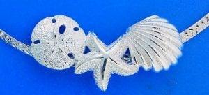Sea Life Cluster Slide Necklace, Sterling Silver