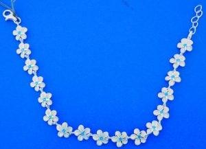 Plumeria Link Bracelet, Sterling Silver