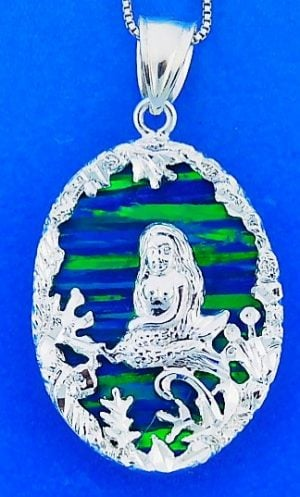 Mermaid Opal Pendnat, Sterling Silver