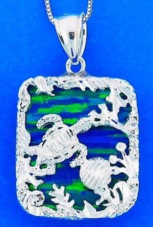 Sea Turtle Opal Pendnat, Sterling Silver