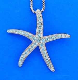 Starfish Cz Pendant, Rose Gold Over Sterling Silver
