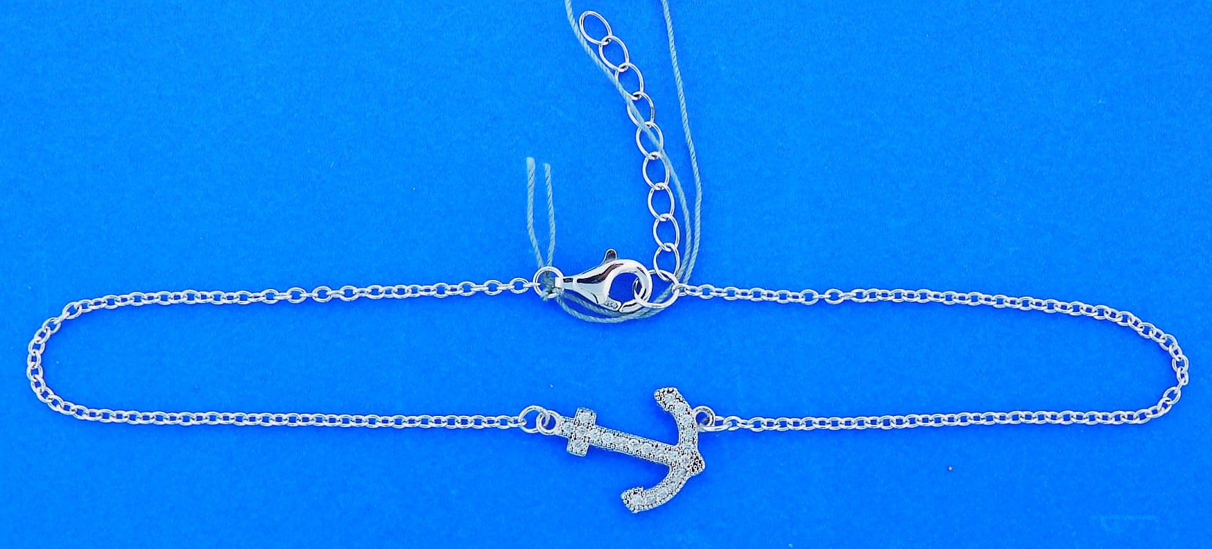 Anchor Cz Ankle Bracelet Sterling Silver