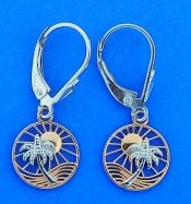 Tropical Scene Palm Tree & Sun Dangle Earrings, 14k 2-Tone