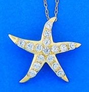 Starfish Pendant With Cz's, Gold Over Sterling Silver