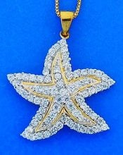 Starfish Pendant With Cz's, Gold Over Sterling Silver, 2-Tone