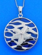 Starfish Wave Pendant, Sterling Silver