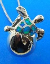 Hatching Sea Turtle Opal Pendnat, Sterling Silver