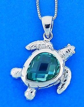 Sea Turtle Blue Crystal Pendant, Sterling Silver