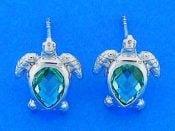 Sea Turtle Blue Crystal Post Earrings, Sterling Silver