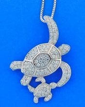 Sea Turtle Mother And Baby Pendant, Sterling Silver