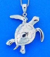 Sea Turtle Pendant, Sterling Silver