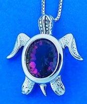 Sea Turtle Rainbow Topaz Pendant, Sterling Silver