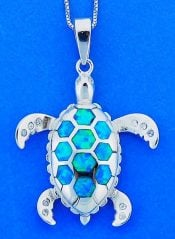 Sea Turtle Opal Pendant, Sterling Silver