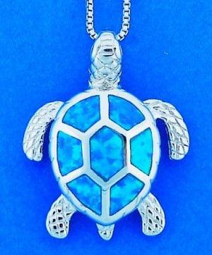 Sea Turtle Opal Pendant, Sterling Silver