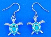 Sea Turtle Opal Earrings,  Sterling Silver