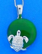 Sea Turtle Pendant On Green Agate, Sterling Silver