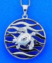 Sea Turtle Wave Pendant, Sterling Silver
