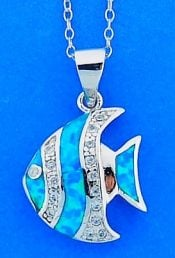 Angel Fish Opal Pendant, Sterling Silver