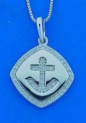 Anchor Cz Pendant, Sterling Silver