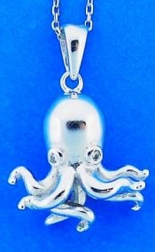 Octopus Pendant, Sterling Silver