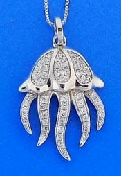 Jellyfish Cz Pendant, Sterling Silver
