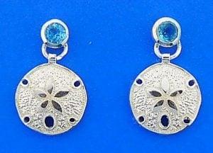 Sand Dollar Blue Topaz Earring, Sterling Silver