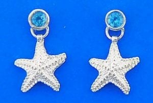 Starfish Blue Topaz Earring, Sterling Silver