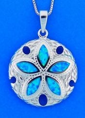 Sand Dollar Opal Pendant, Sterling Silver