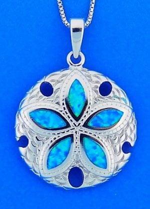 Sand Dollar Opal Pendant, Sterling Silver
