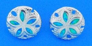 Sand Dollar Opal Earrings, Sterling Silver