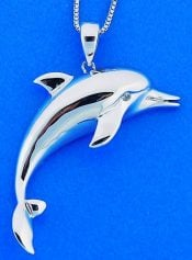 Dolphin Pendant, Sterling Silver