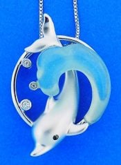 Dolphin Blue Agate Wave Pendant, Sterling Silver
