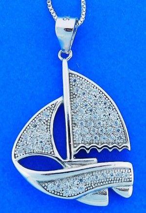 Sailboat Cz Pendant, Sterling Silver