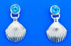 Shell Blue Topaz Earring, Sterling Silver
