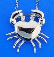 Crab Cz Pendant, Sterling Silver