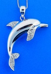 Dolphin Cz Pendant, Sterling Silver