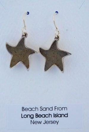 Lbi Dune Jewelry Starfish Beach Sand Earrings, Sterling Silver