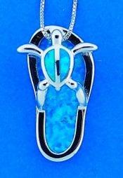 Flip Flop Turtle Blue Opal Pendant, Sterling Silver