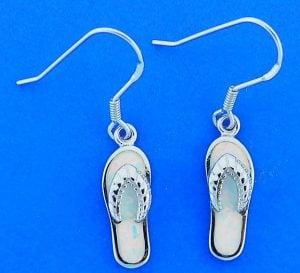 Flip Flop White Opal Earrings, Sterling Silver
