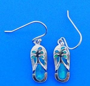 Flip Flop Palm Tree Opal Earrings, Sterling Silver