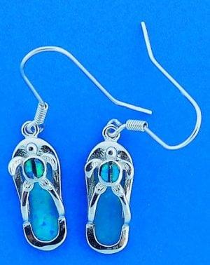 Flip Flop Sea Turtle Opal Earrings, Sterling Silver