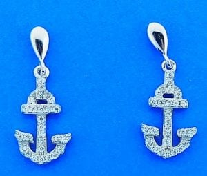 Anchor Cz Post Dangle Earrings, Sterling Silver