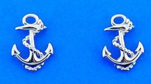 Anchor Post Earrings, Sterling Silver
