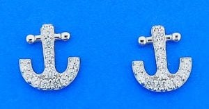 Anchor Cz Post Earrings, Sterling Silver