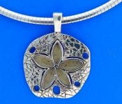 Lbi Dune Jewelry Sand Dollar Beach Sand Pendant, Sterling Silver