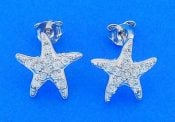 Starfish Cz Post Earrings, Sterling Silver