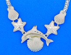 Dolphin Sealife Necklace, Sterling Silver